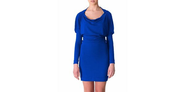 Dámske kobaltovo modré šaty s riasenými rukávmi Yuliya Babich