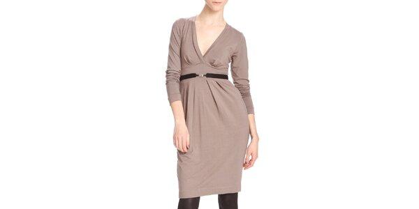 Dámske hnedo-béžové šaty s čiernym opaskom Yuliya Babich