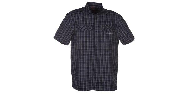 Pánska čierna kockovaná košeľa s krátkym rukávom Kilpi