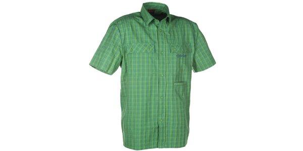 Pánska zelená kockovaná košeľa s krátkym rukávom Kilpi