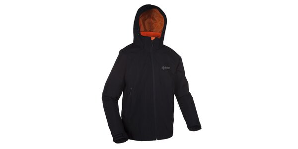 Pánska čierna outdoorová bunda s kapucňou Kilpi