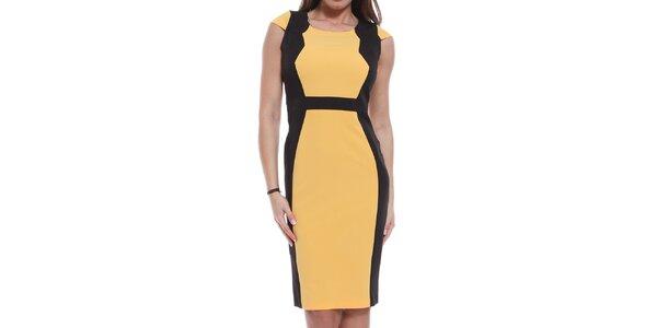 Dámske žlto-čierne šaty Oriana
