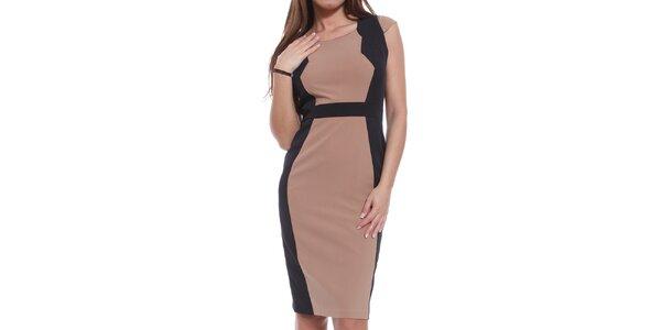 Dámske hnedo-čierne šaty Oriana