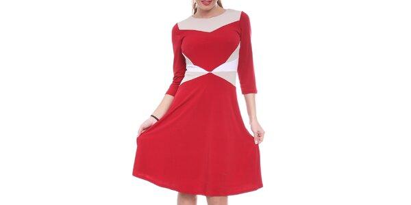 Dámske červené šaty s bielymi a krémovými prvkami Oriana