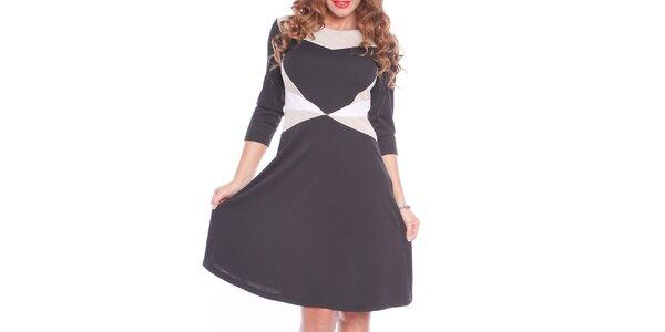 Dámske čierne šaty s bielymi a krémovými prvkami Oriana
