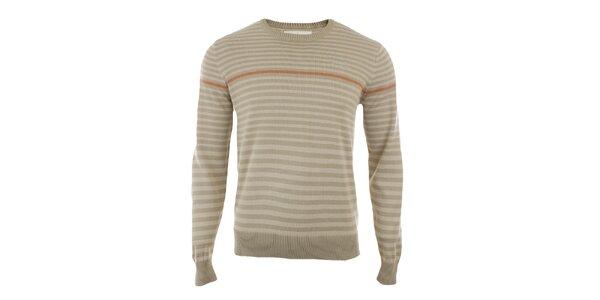 Pánsky béžový sveter s prúžkami Timeout