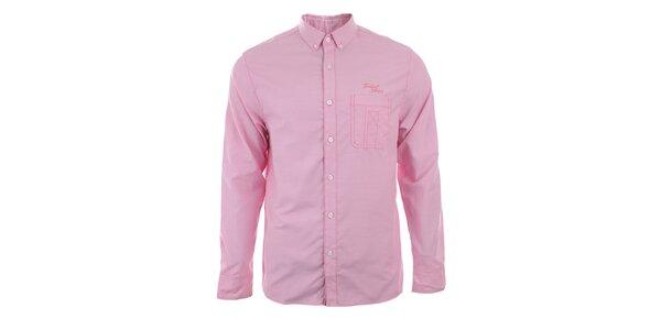 Pánska svetlo ružová košeľa s dlhým rukávom Timeout