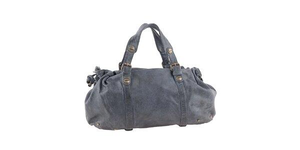 Dámska tmavo šedá kožená podlhovastá kabelka Amylee