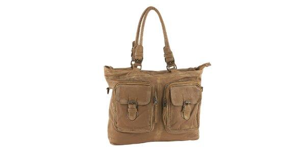Dámska svetlo hnedá kabelka s vreckami Amylee