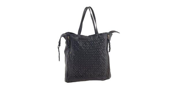 Dámska čierna kožená kabelka so zipsovým zapínaním Amylee