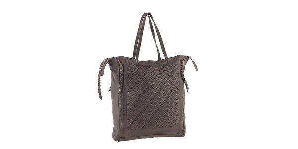 Dámska tmavo hnedá kožená kabelka so zipsovým zapínaním Amylee