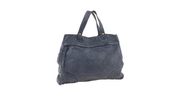 Dámska modrá kožená kabelka s prepletanými rohmi Amylee