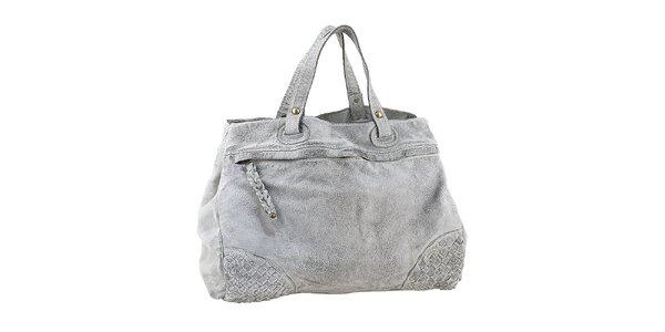 Dámska šedá kožená kabelka s prepletanými rohmi Amylee