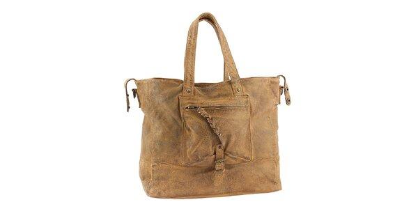 Dámska svetlo hnedá kabelka s vreckom Amylee