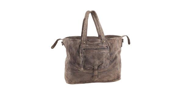 Dámska kabelka s vreckom vo farbe taupe Amylee