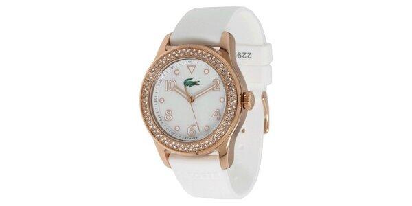 Dámske oceľové hodinky s bielym remienkom a kamienkami na lunete Lacoste