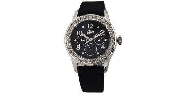 Dámske čierne oceľové hodinky Lacoste