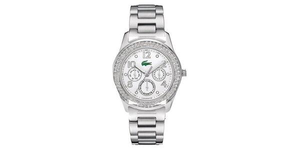 Dámske oceľové hodinky s kamienkami Lacoste