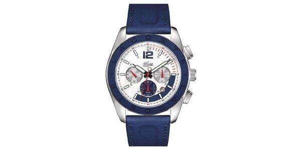 Pánske oceľové hodinky s modrým remienkom Lacoste