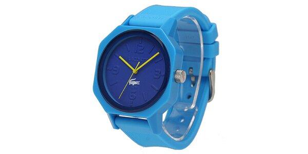 Modré hodinky so žltými rafíčkami Lacoste