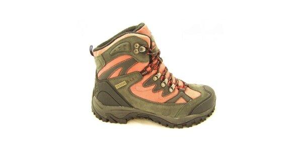 Dámske oranžovo-khaki trekové topánky Numero Uno