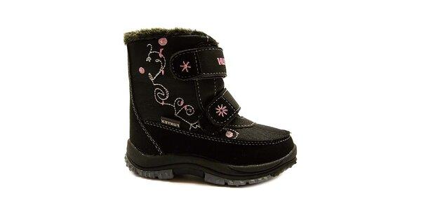 Detské čierne zimné topánky s prešívaním Numero Uno