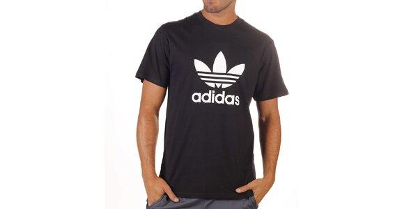 Pánske čierne tričko s potlačou Adidas