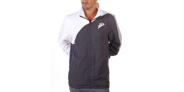 Pánska bielo-antracitová športová bunda Adidas