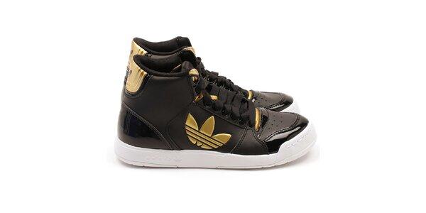 Dámske čierne členkové tenisky so zlatými detailmi Adidas