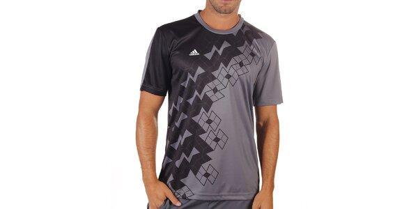 Pánske šedé tričko s krátkym rukávom Adidas