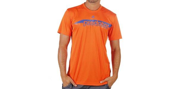 Pánske oranžové tričko s krátkym rukávom Adidas