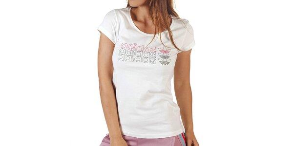 Dámske biele tričko s potlačou Adidas