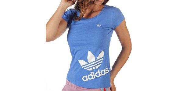 Dámske modré tričko s potlačou Adidas