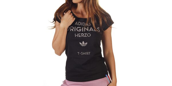Dámske čierne tričko s šedým nápisom Adidas