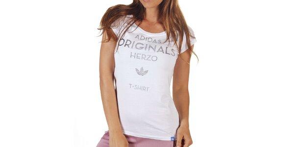 Dámske biele tričko s šedým nápisom Adidas