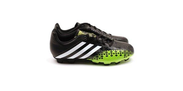 Pánske čierno-zelené kopačky Adidas