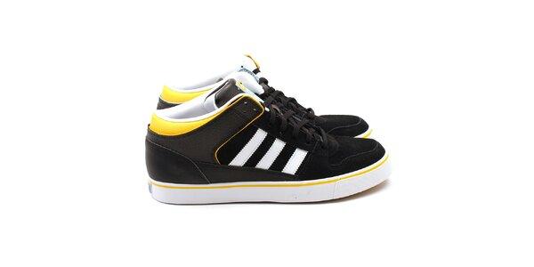 Pánske čierne tenisky so žltými detailmi Adidas