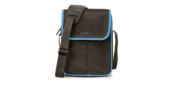 Hnedá taška na tablet s modrými prvkami Esprit