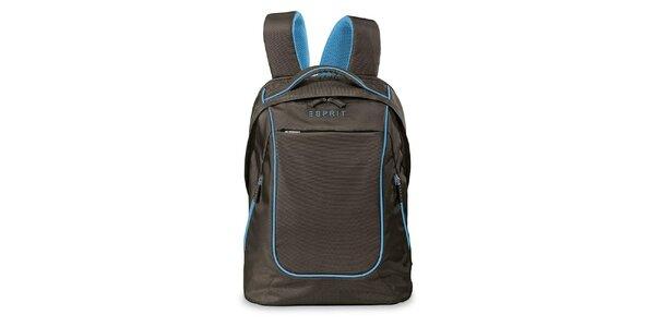 Hnedý ľahký ruksak s modrými prvkami Esprit