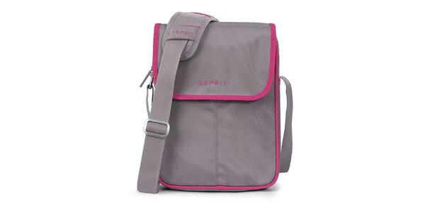 Šedá taška na tablet s ružovými prvkami Esprit