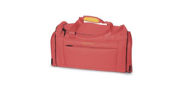 Malá cestovná taška v korálovej farbe Esprit