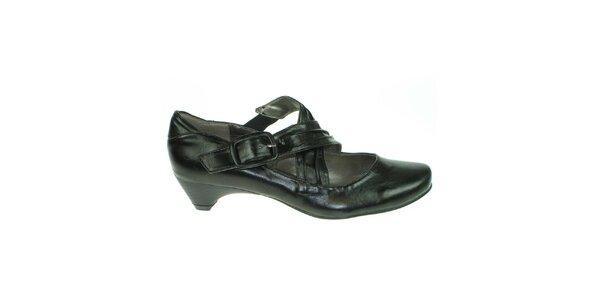 Dámske čierne topánky s prackovým zapínaním Toscania