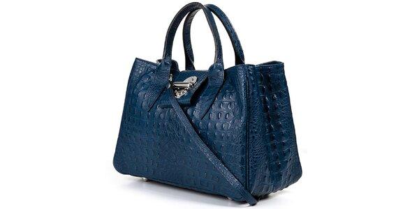 Dámska modrá kabelka s krokodýlim vzorom Giulia