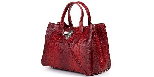 Dámska červená kabelka s krokodýlim vzorom Giulia