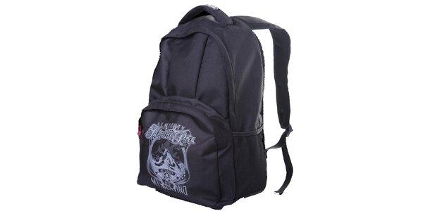 Čierny ruksak s potlačou na vrecku Alpine Pro
