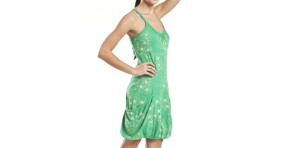 Dámske zelené šaty s kvetinovou potlačou Alpine Pro