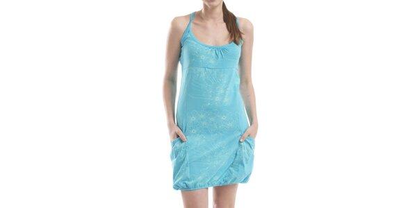 Dámske modré šaty s kvetinovou potlačou Alpine Pro
