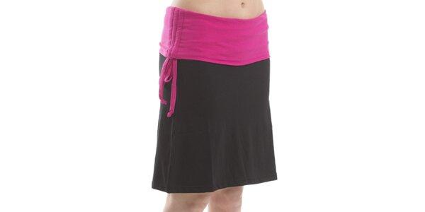 Dámska čierna sukňa s fuchsiovým lemom Alpine Pro