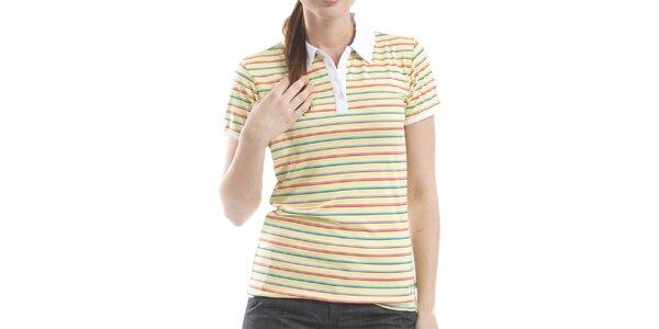 Dámske žlté pruhované polo tričko Alpine Pro