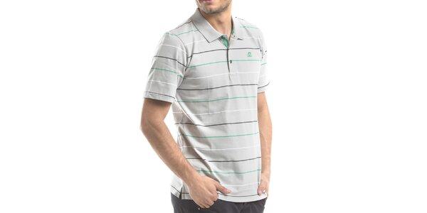 Pánske svetlo šedé polo tričko s prúžkami Alpine Pro